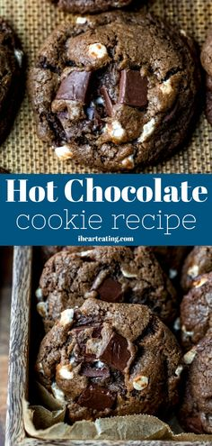 Hot chocolate cookies are rich chocolate cookies filled with marshmallow bits and chunks of melty chocolate. Soft chocolate cookies with marshmallow bits and chunks of chocolate Chocolate Marshmallow Cookies, Chocolate Chip Shortbread Cookies, Cocoa Cookies, Toffee Cookies, Chocolate Cookie Recipes, Yummy Cookies, Marshmallow Bits, Cookies Soft, Chocolate Chocolate