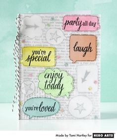 Birthday card with vellum overlay and trapped confetti #HeroArts