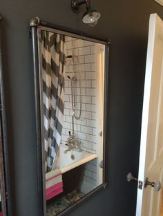 Dove grey mirror in bathroom makeover