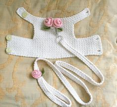 Dog harness with Matching Leash Pet clothing, Dog Harness Dog vest Crochet Dog Harness Dog Vest Small Dog Harness Harness with Lesh BubaDog This dog harness has two beautiful handmade roses on its back . The dog harness is made out of Cream cotton fabric. Crochet Dog Clothes, Crochet Dog Sweater, Pet Clothes, Dog Clothing, Dog Crochet, Crochet Gifts, Animal Clothes, Crochet Poncho, Free Crochet