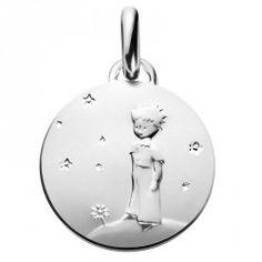 Médaille de baptême en argent Le Petit Prince sur sa planète - 14mm