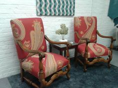 His and Hers vintage chairs in Grande Paisley by Maharam