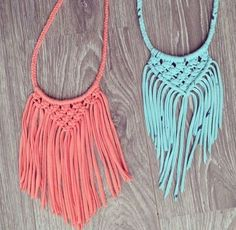 t shirt upcycle into necklace | Upcycled Macramé T-shirt Necklaces