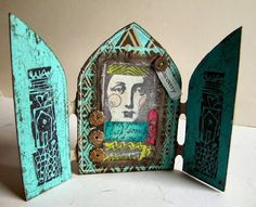 PaperArtsy: Sue Carrington #2 Arched Doorway .... using Lynne Perrella Stamps, Fresco Finish Acrylics and Crackle Glaze.