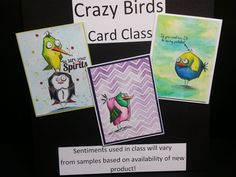 Shelby's Crazy Birds Cards Class at Simple Pleasures - lots of cardmaking fun with these Tim Holtz stamps, distress inks and background techniques. Monday, Sept 7 at 1pm.