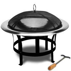 Braséro de jardin avec couvercle en Acier 75cm camping barbecue chauffage extérieur