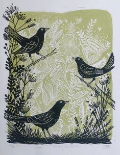 linocut printmaking Buy Curious Blackbirds, Linocut by Alison Headley on Artfinder. Discover thousands of other original paintings, prints, sculptures and photography from independent artists. Art And Illustration, Gravure Illustration, Botanical Illustration, Linocut Artists, Textile Artists, Lino Art, Woodcut Art, Linoprint, Tampons