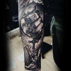 Guys Forearms Cross Rosary Religious Tattoo