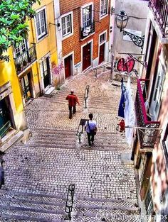 Streets of Alfama. Lisbon, Portugal Memories of drinking and a close call with an ATM being smarter than the human. Sintra Portugal, Visit Portugal, Spain And Portugal, Portugal Travel, Portugal Trip, Algarve, Oh The Places You'll Go, Places To Travel, Europe Places