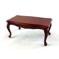 Dolls House Walnut Wood Art Deco Coffee Table Miniature Living Room Furniture