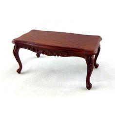Dolls House Walnut Wood Art Deco Coffee Table Miniature Living Room Furniture