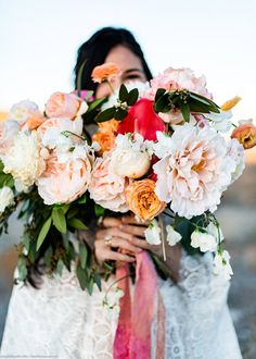 Create a stunning coral and blush peony bridal bouquet for your boho wedding. Coral Peonies, Silk Peonies, Peony, Blush Wedding Flowers, Bridal Flowers, Flower Bouquets, Diy Flower, Silk Flower Arrangements, Blush Pink