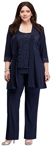 PSD Plus Size Mock Two Piece Lace and Jersey Pant Suit Style 7772W