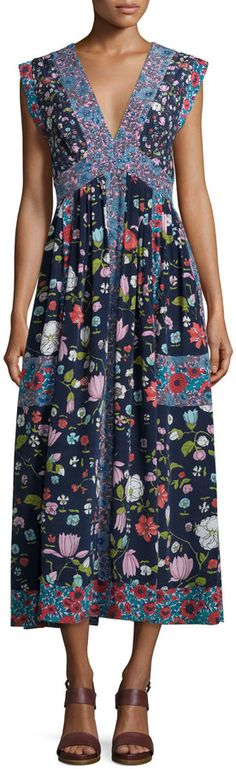 Rebecca Taylor Sleeveless Tap Floral Midi Dress, Blackberry