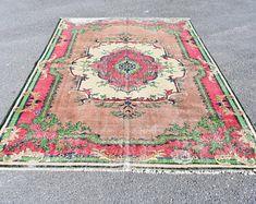 Turkish rug Oushak rug Vintage rug Turkey rug by turkishrugstar Pink Rug, Vintage Rugs, Bohemian Rug, Etsy Seller, Turkey, Creative, Turkey Country