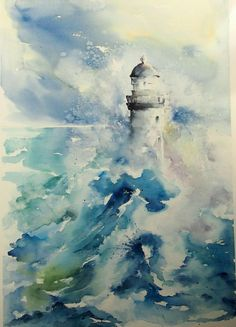 Abstract Watercolor, Watercolour Painting, Lighthouse Painting, Magazine Collage, Seafarer, Light House, Water Colors, Environmental Art, Urban Art