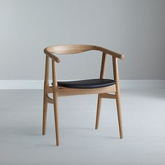 "Buy Hans Wegner The ""U"" Chair, Oak/Black Leather Online at johnlewis.com"