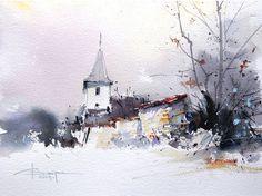 Watercolour-Acuarela-Corneliu-Dragan-Targoviste-peisaj-rural-3