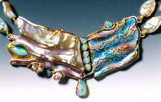 "MARIANNE HUNTER ""Oceana's Jewel""  Oceana's Jewel sculpted by the wild sea and kissed by dawn     Stones and Materials  Enamel Pearl Australian Opal Brazilian Opal 24K - 14K - SS Necklace of Rose Petal Pearls 3-1/4"" x 1-1/2"" x 1/4"" ID#2353 $6,200"