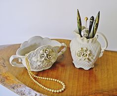 Jewelry Holders, Upcycled Creamer And Sugar Bowl, Hat Pin Holder Bowl Hat, Dresser Sets, Floral Foam, Champagne Color, Hat Pins, Jewellery Storage, Christmas Sale, Sugar Bowl, Vintage Antiques