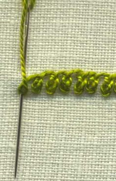 'Rosette Chain Stitch' as a decorative stitch it is also known as bead edging stitch and simply Rosette stitch. It can be used to create small floral motifs by working a number of stitches around a small circle, with the chain stitches pointing outwards.