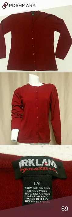 Kirkland maroon cardigan Large cardigan, maroon, pre-owned, 100% Merino wool Kirkland Sweaters Cardigans