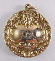 Antique Victorian 10k Solid Gold Diamond Locket w/Repousse Great North Wind 8g #Locket