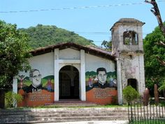 El Salvador - The Church of Cinquera (22 kms from Suchitoto) use bombs instead of bells / suchitoto.tours @gmail.com