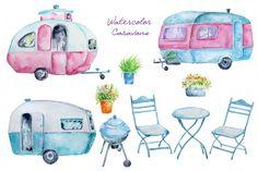 Watercolor Clipart Classic Caravan By Cornercroft