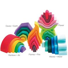 Grimm's 4 ELEMENTS + FLOWER: Complete Set of LARGE Wooden Stackers - Includes Rainbow, Caves, Water Waves, Fire & Little Flower (31 Pieces/Building Blocks Total) Grimm's Spiel and Holz Design http://www.amazon.com/dp/B008CITBKC/ref=cm_sw_r_pi_dp_WL2Eub1WF6Q2E