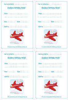Free Printable Airplane Kid Party Invites