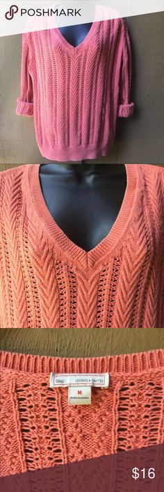 ! SALE ! Gap Cable Knit Sweater Gap Cable Knit Sweater.  * Cable Knit Sweater, 100% Cotton.  * Color: coral.  •Fabric: 100% Cotton.  * Size Medium, oversized fit.  * Stylish, Comfy and breathable. * Used, fair condition. GAP Sweaters V-Necks
