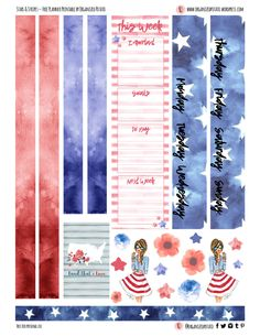 Free Printable Stars and Stripes Planner Stickers {page two} from Organized Potato Free Planner, Planner Pages, Happy Planner, Planner Layout, Planner Ideas, Printable Planner Stickers, Printable Calendars, Free Printables, Erin Condren Life Planner