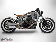 "Indian Paris and Tank Machine present their idea of the Indian Scout Bobber This motocycle was made one month ago on the occasion of the, ""WorldMot Indian Motorcycles, Custom Motorcycles, Custom Bikes, Indian Scout Custom, Indian Scout Sixty, Indian Motors, Triumph Bobber, Bobber Motorcycle, Girl Motorcycle"