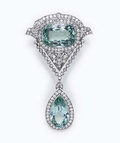 Belle Epoque aquamarine and diamond brooch, circa 1910, Christie's