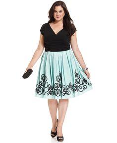 SL Fashions Plus Size Dress, Cap-Sleeve A-Line - Plus Size Dresses - Plus Sizes - Macy's