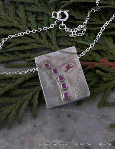 HandCrafted 925 Sterling Silver Pendant w/ Red Sapphire Gemstones Inset                          RS-14036