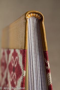 my leather and cloth book with handmade endbands, the bookblock is graphpaper. bookbinding