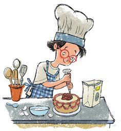 Baking a cake by John Abbott Nez Kids Reading Books, Kids Story Books, Ink Illustrations, Children's Book Illustration, Cartoon Drawings, Cute Drawings, Buch Design, Magazine Art, Fabric Painting