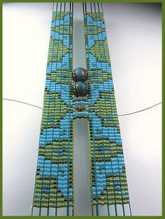 Super interesting idea how to incorporate odd-sized beads into a loom pattern. Beads Beading Beaded, with Erin Simonetti: October 2011 kumihimo carding Seed Bead Patterns, Weaving Patterns, Jewelry Patterns, Bead Loom Bracelets, Beading Techniques, Beading Tutorials, Beading Ideas, Beading Supplies, Beaded Bracelets