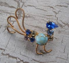 Made in Austria Rhinestone Bird Brooch by mimiyaya on Etsy, $14.00