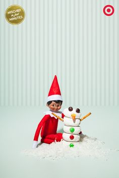 Snacky Snowman: Christmas means that there's no shortage of snacks around the house. So it makes sense that an energetic elf snagged mini-powdered donuts, pretzels sticks and candy to build a Snack-tastic holiday snowman.