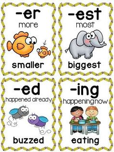 Suffixes Posters and Picture Cards for Center Activities by Miss Giraffe Teaching Language Arts, Speech And Language, Teaching English, Sign Language, Teaching Reading, Teaching Tools, Learning, Guided Reading, English Lessons