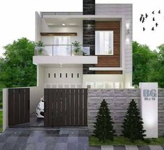 Pin by Civil Engineering Discoveries on Modern House Design Ideas Two Story House Design, Simple House Design, Bungalow House Design, Modern Small House Design, Modern Exterior House Designs, Narrow House Designs, Dream House Exterior, Exterior Design, House Outside Design