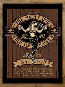 Salty Dog Saloon Metal Sign on Rustic Barn Wood Frame, mermaid pirate bar art Mermaid Bar, Mermaid Sign, Old Ale, Pirate Decor, Pirate Signs, Pirate Theme, Pub Signs, Beer Signs, Poster
