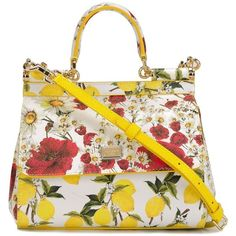 Dolce & Gabbana Miss Sicily Small Handbag With Lemon and Roses Print (£1,030) ❤ liked on Polyvore featuring bags, handbags, yellow, dolce gabbana handbag, tote handbags, white hand bags, yellow purse and white purse
