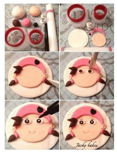 Izzy the pirate Fondant Cupcakes, Fondant Tips, Fondant Tutorial, Fondant Toppers, Cupcake Cookies, Cupcake Toppers, Cupcakes Design, Cake Decorating Tutorials, Cookie Decorating