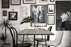 A small space full of light in Stockholm (my scandinavian home) Interior inspiration Dining Room Inspiration, Interior Design Inspiration, Kitchen Dinning Room, Dining Table, Industrial Table, Scandinavian Home, Scandinavian Apartment, Minimalist Interior, Elle Decor