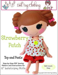 Strawberry Patch Top and Pants for Lalaloopsy Dolls