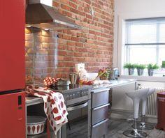 Jeg ønsker meg et kjøkken med vegg av murstein..